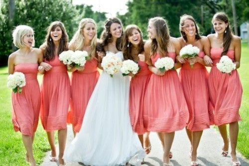 coral bridesmaid