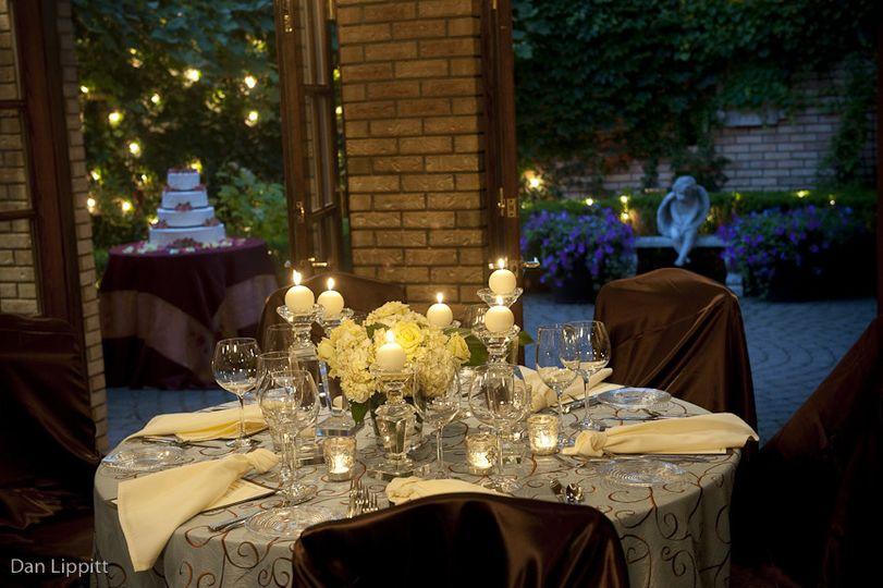 Candlelit dinner setup