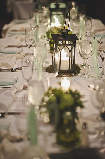 Table setup and lantern centerpiece
