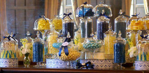 blue yellow candy buffet