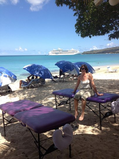 Ready for massage at our favorite west-end beach, not too far from the scenic Frederiksted cruise...
