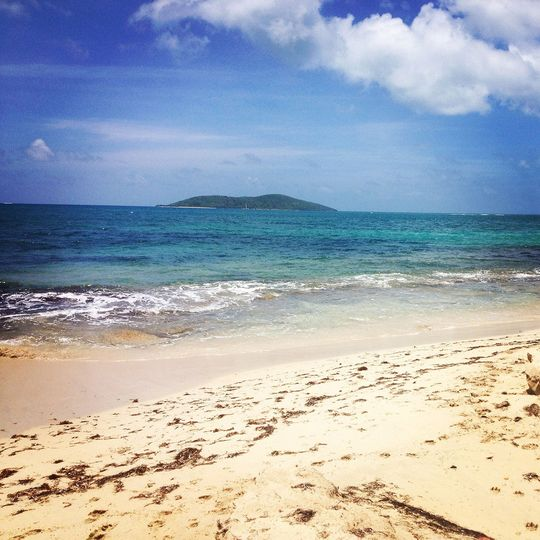 View of Buck Island from Miss Bea Road beach, one of our  favorite quiet beaches for massage