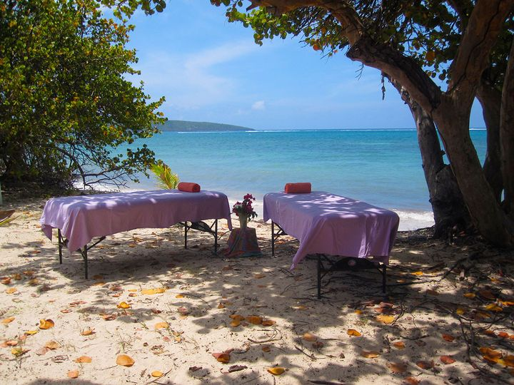 Ready for Romantic Couples Massage on Duggan's Beach, by the Reef at Teague Bay