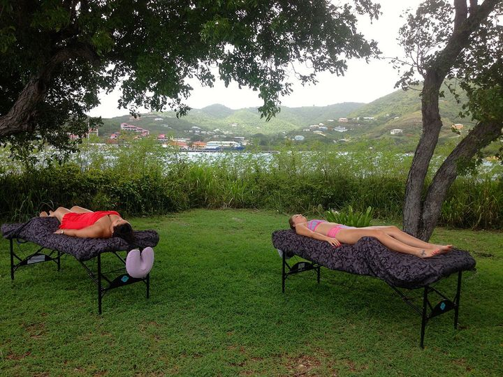 Massage on the shaded knoll, Hotel on the Cay