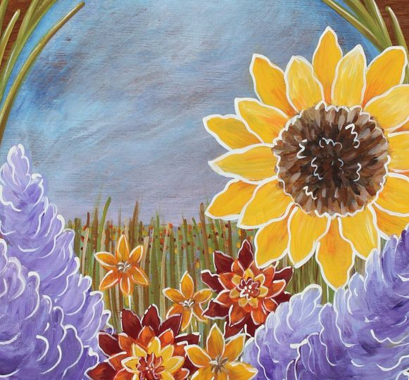 Close up of our sunflower wedding guest book alternative - hand painted wood panel to be signed by...