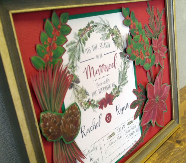 A Christmas wedding invitation turned into a completely custom piece of art for the newlyweds