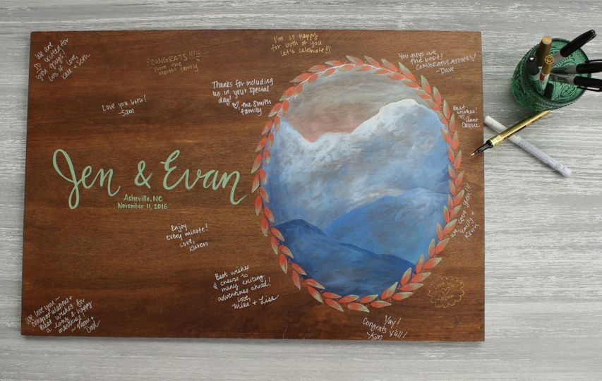 Hand painted guestbook alternatives can be signed by all your loved ones on the big day, turning it...