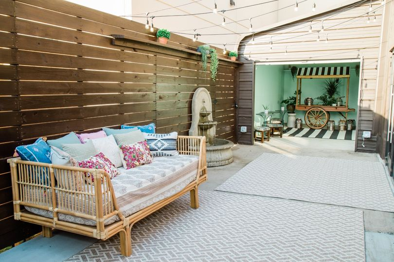 Our daybed and Garden Bar