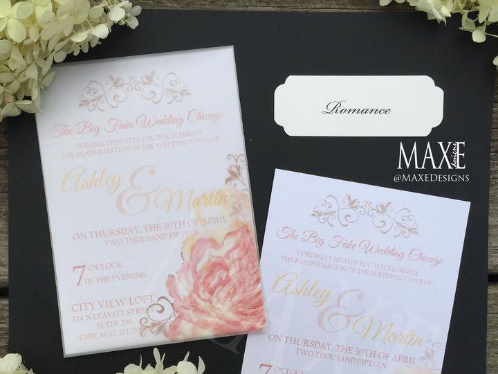 Tmx Romance 4 Maxe Designs 51 444523 Chicago, IL wedding invitation