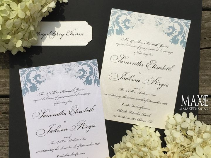 Tmx Royal Grey Charm 2 Maxe Designs 51 444523 Chicago, IL wedding invitation