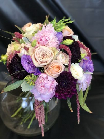 Purple, white, and peach bouquet