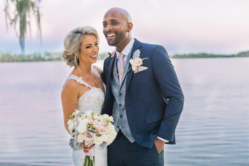 Waterfront wedding photo
