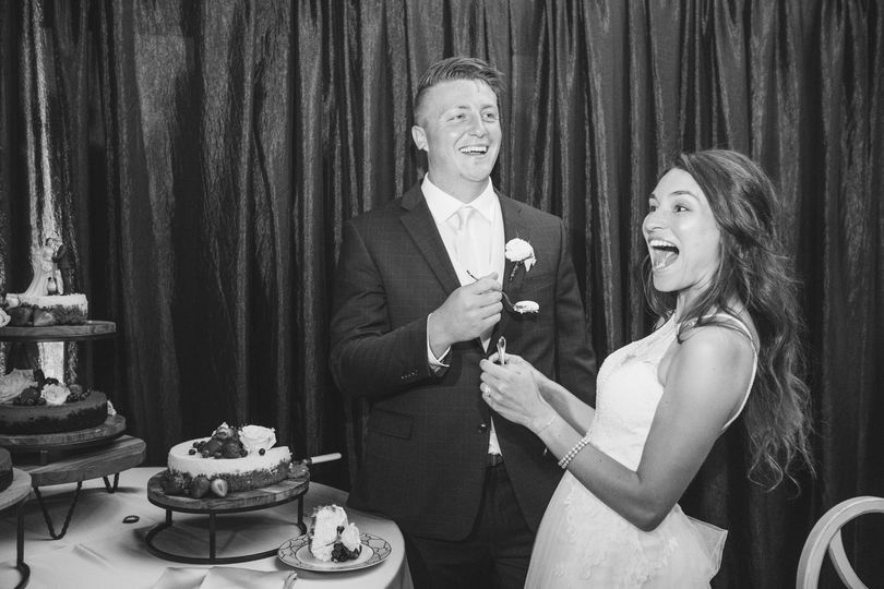 Laughing together as newlyweds