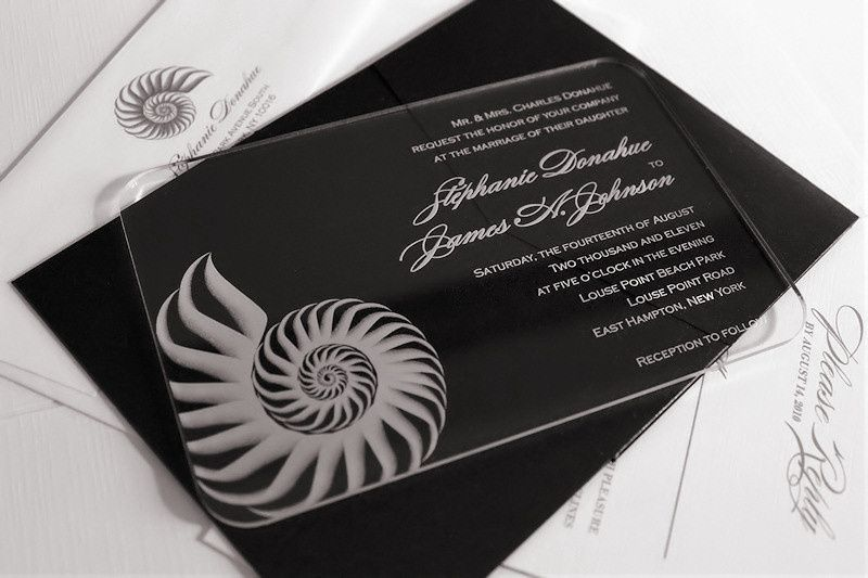 acrylic wedding invitation shel