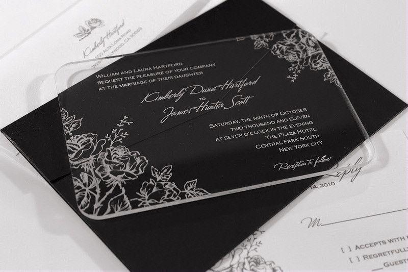 acrylic wedding invitation set blosso