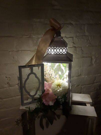 Flowers in lamp