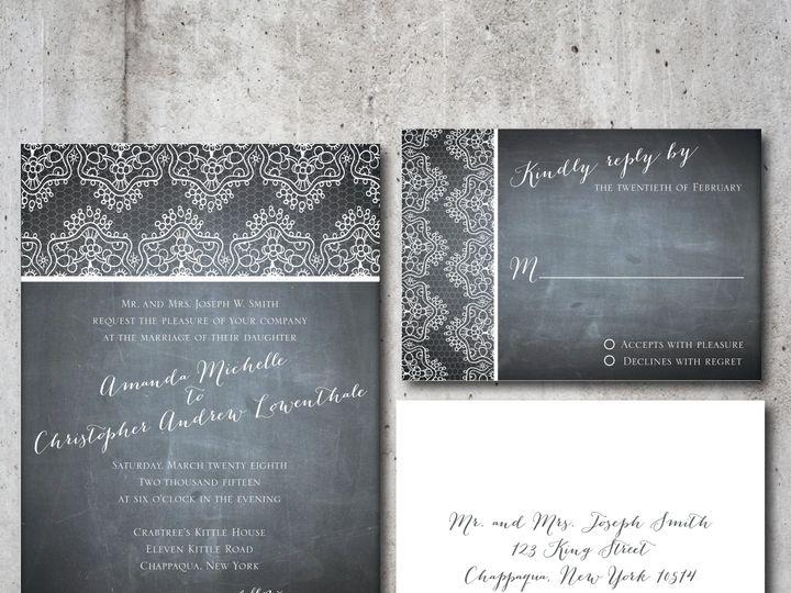 Tmx 1422028360327 Lace Chalkboard Suite Chappaqua, NY wedding invitation