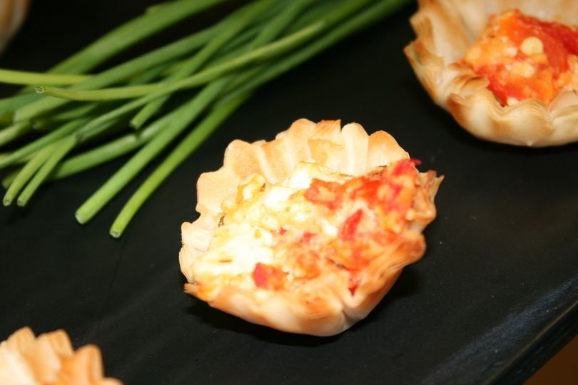 Roasted red pepper and feta tarts