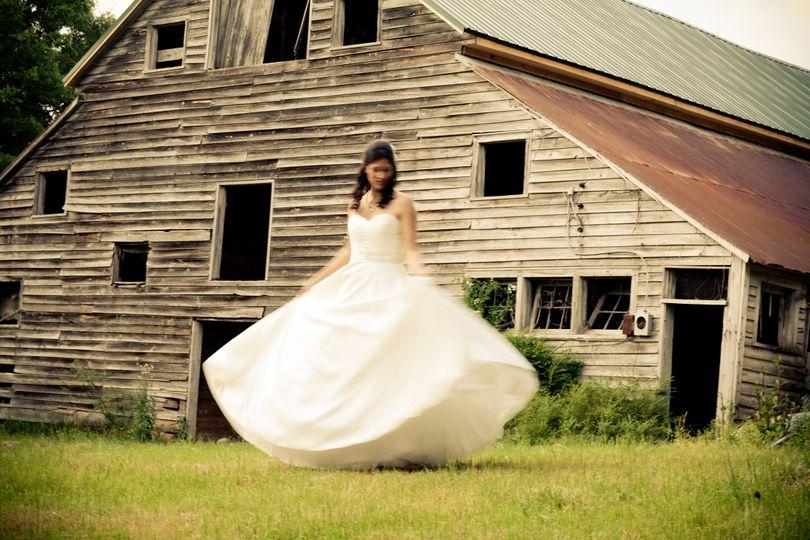 Bride twirls in her gown