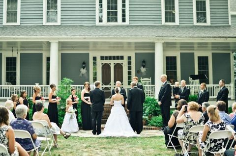 wedding on front steps of hous