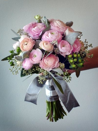 Bridesmaid bouquet of pink ranunculus