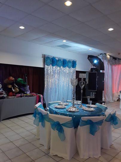 Blue themed backdrop