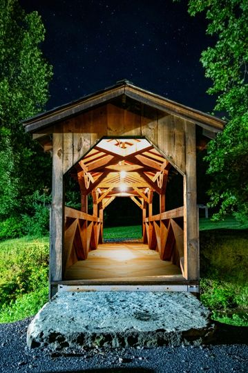 Covered bridge at night