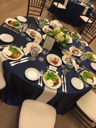 Plated dinner setup