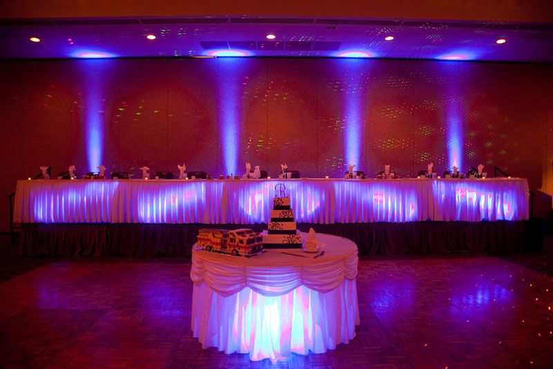 Head table and wedding cake table uplights