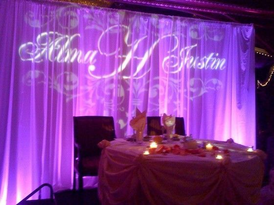 Sweetheart table and monogram projection
