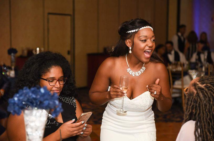 Bride enjoying her guests