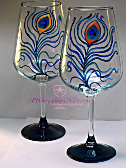 Peacock Personalized Custom Hand Painted Wedding Glasses  Peacock feathers personalized custom hand...
