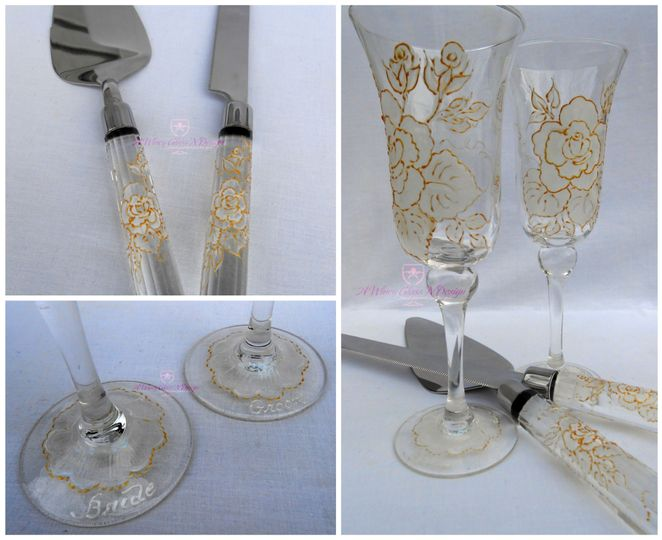 White & Gold Vintage Rose Wedding Collection - includes champagne flutes, and cake serving set....