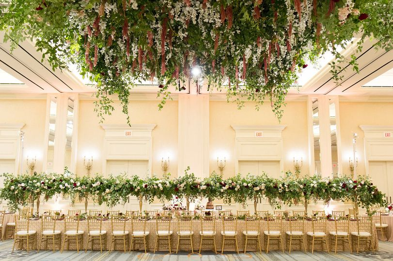 Floral ceiling and table decor
