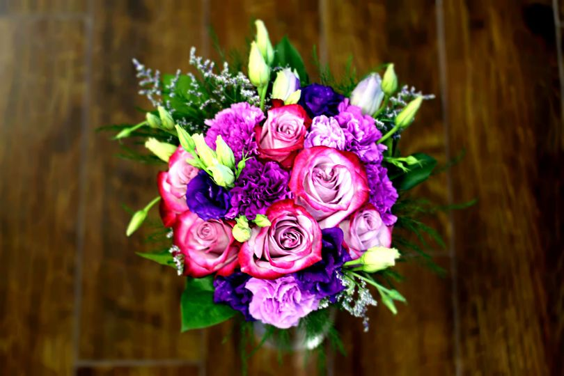 Pink, violet and green