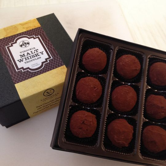 Groomsmen gifts are covered with our Malt Whisky Truffles, dark chocolate ganache with Virginia...