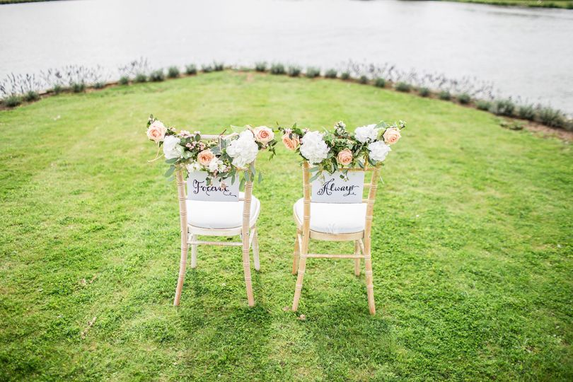 Cheery chairs for the bride and groom
