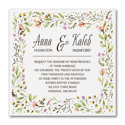 Delightful posies play around the borders of this award-winning wedding invitation design.