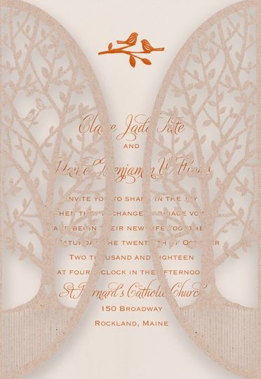 Perfect fall wedding invitation for those who love nature and birds.