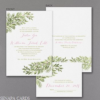 Winter wedding invitation featuring accents of holly leaves.