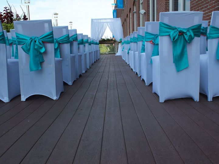 Tmx 1526487631 E435f40b446ef6d5 1498767486341 Deck Ceremony Chair Covers Lawrence, MA wedding venue