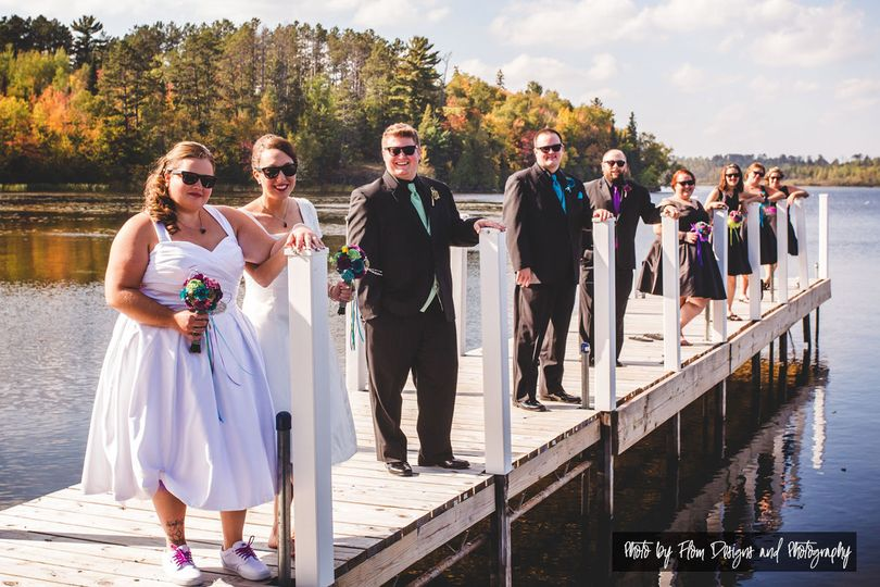 The bride with her bridesmaids and groomsmen