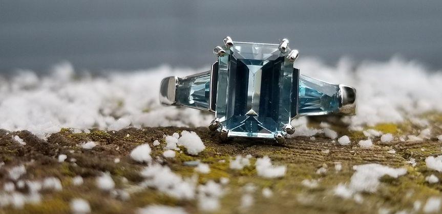 Custom Platinum 3 Stone Aqua