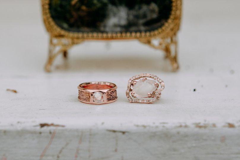 Herkimer Diamond Rose Gold Set