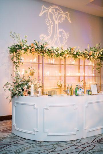 Decorated bar area - Ashley Upchurch Photography