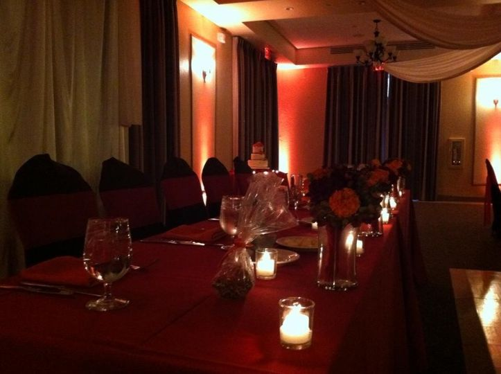 Table setting with candle lighting