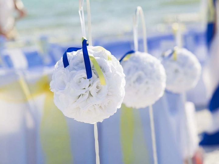 Tmx 1440086958282 White Pomanders With Royal Blue And Yellow Ribbons Saint Petersburg wedding planner