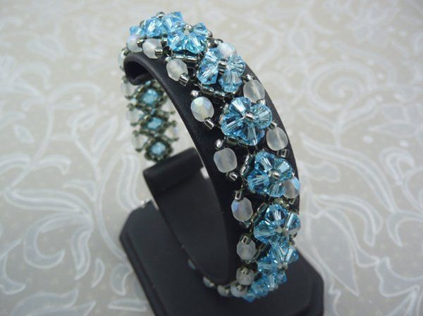 Crystal Bracelet in Aquamarine and Opal woven with Swarovski