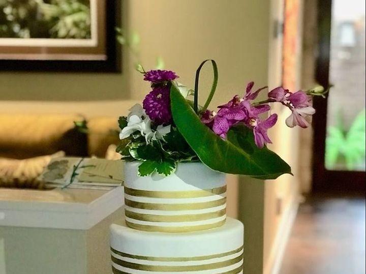 Tmx 1530892583 D61505c3a9db4653 1530892582 Dfc8cbf80ae00076 1530892582418 13 Gold Stripe Cake Winter Haven wedding cake