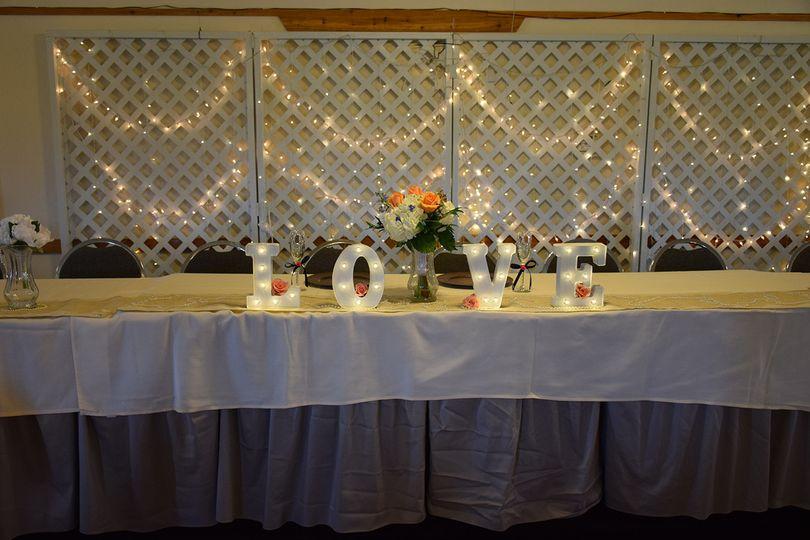 Sweetheart's table setup